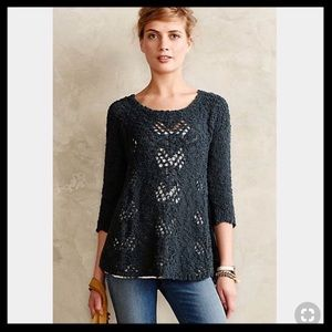 Anthro Knitted & Knotted Sylte Pointelle Pullover